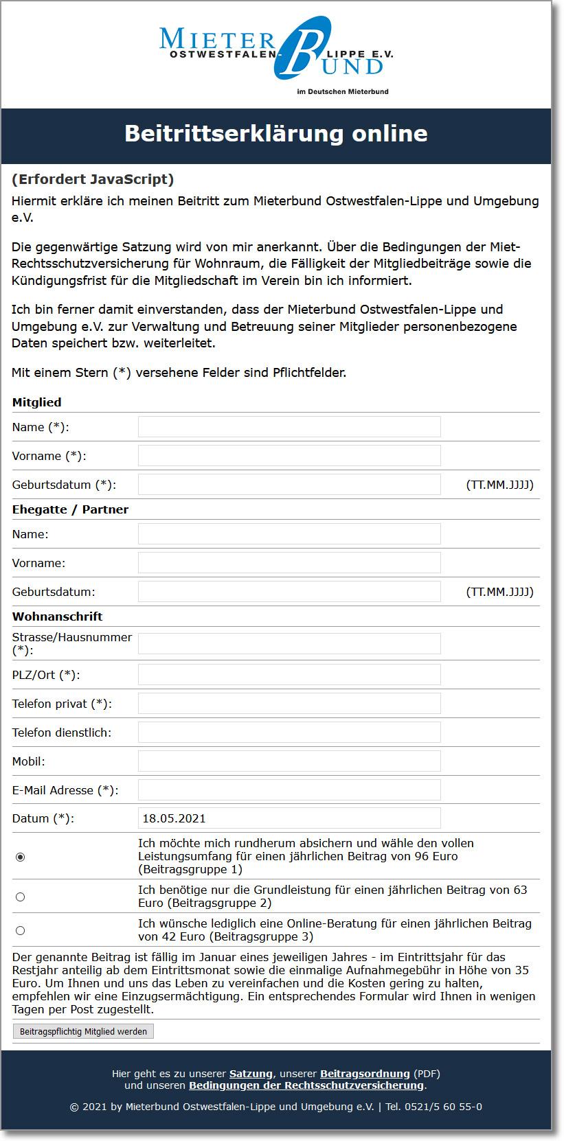 Beitrittserklärung zum Mieterbund Ostwestfalen-Lippe e.V.